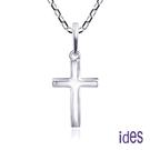 ides愛蒂思 輕珠寶義大利進口14K白金十字架項鍊鎖骨鍊(16吋-KP754)