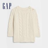 Gap嬰兒 甜美風格絞花針織針織衫 593302-米白色