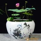 大號陶瓷花盆水養植物睡蓮盆缸銅錢草荷花水培器皿超級品牌【小獅子】