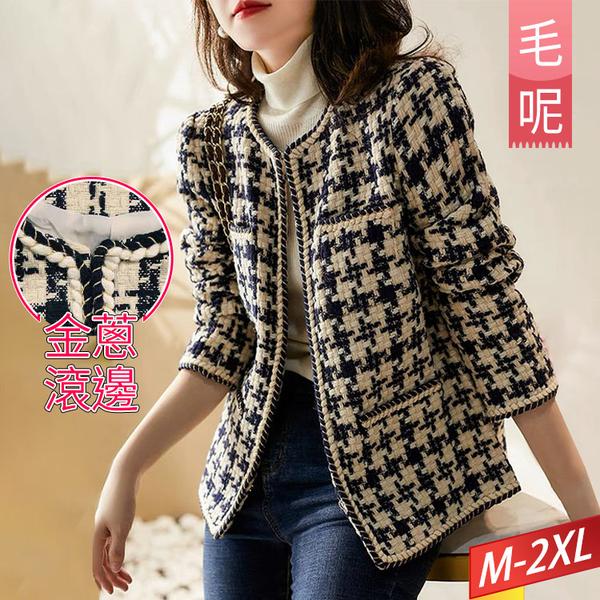 羊毛格紋外套金蔥交叉滾邊 M-2XL【996361W】【現+預】-流行前線-