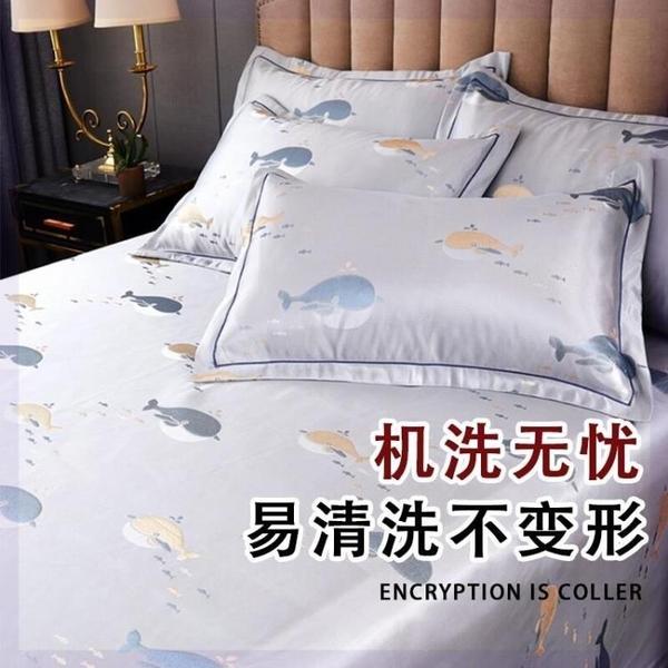 夏季冰絲枕套涼感枕頭套單人枕套48x74cm 學生宿舍可選一對裝成人蚊帳毯子被