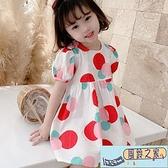 兒童連身裙 夏季新款兒童氣質舒適短袖連身裙小女孩簡約可愛圓點裙子 【風鈴之家】