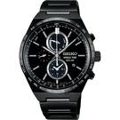 SEIKO 精工 SPIRIT 太陽能兩地時間計時碼錶-黑/41mm V195-0AE0SD(SBPJ037J)