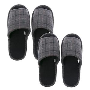 (組)英倫格紋保暖拖鞋-灰Lx1+XLx1