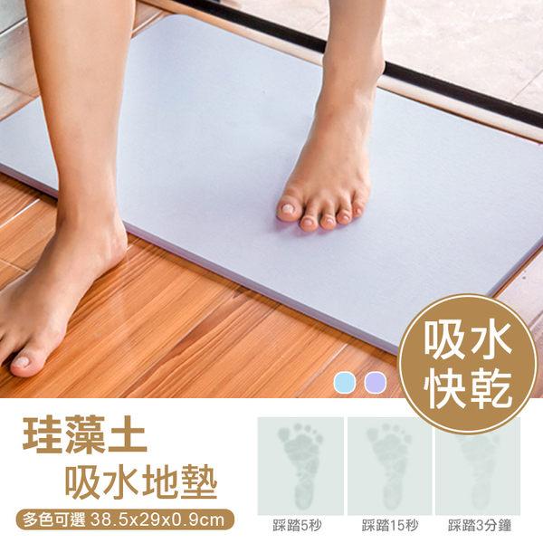 【JR創意生活】素面 硅藻土地墊 珪藻土 腳踏墊 吸水腳墊 38.5X29 藍色/紫色