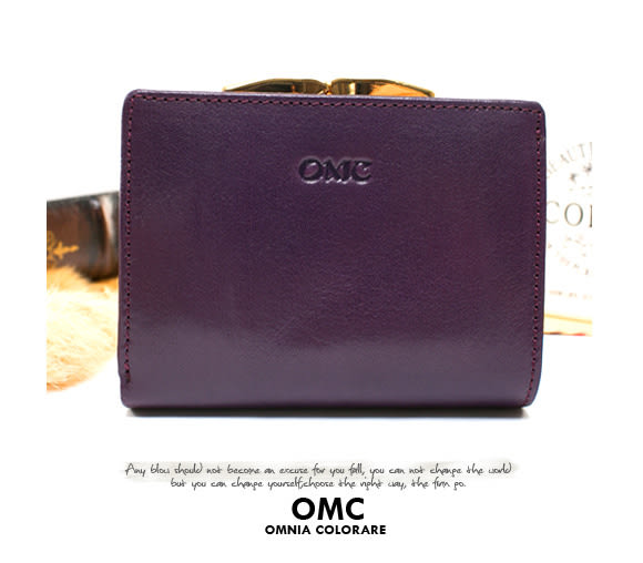 OMC - 原皮魅力真皮系列兩用零錢扣短夾 - 神秘紫