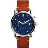 FOSSIL Commuter 潮男時尚計時手錶-藍x咖啡/42mm FS5401