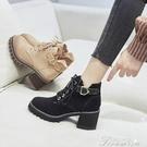 時尚短靴 馬丁靴女鞋子英倫風靴子新款百搭高跟短靴粗跟春秋款加絨冬季 快速出貨