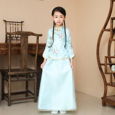 熊孩子❤六一兒童節古裝民國小姐裝(藍色)定制不退