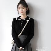 polo衫 早初季新款POLO領毛衣女薄款長袖黑色翻領打底針織衫學生上衣 新品