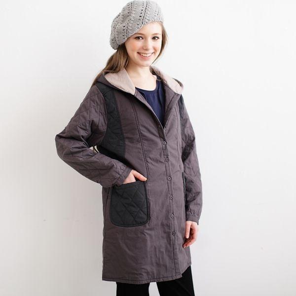 【中大尺碼】帽雙色接風衣外套