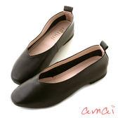 amai零著感-柔軟真皮深V微方頭舒適便鞋 黑