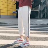 韓版春季七分褲男士薄款青年哈倫褲寬鬆條紋休閒褲子    琉璃美衣