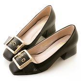amai金屬方釦皮帶粗跟方頭鞋 黑