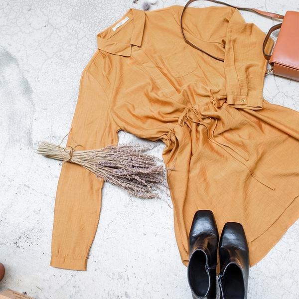 《AB5700》腰間抽繩單口袋長版襯衫上衣/洋裝 OrangeBear