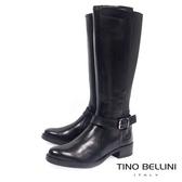 Tino Bellini歐洲進口英氣拼接彈力布平底長靴_ 黑 A69028 歐洲進口款