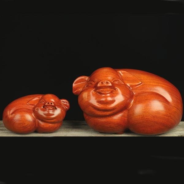 木雕豬擺飾 實木豬雕刻擺飾 雕刻藝品 十二生肖木雕工藝擺飾 木雕擺飾 木雕工藝品(長16公分)