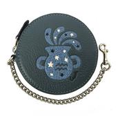 【COACH】經典LOGO牛皮星座水瓶圓形零錢包(水瓶藍)