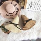 英文刺繡字母大檐手工編織草帽子女夏天海邊度假遮陽帽沙灘帽  巴黎街頭