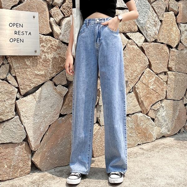 EASON SHOP(GW6085)實拍輕薄零著水洗丹寧做舊多口袋鬆緊腰收腰垂感高腰牛仔長褲女直筒褲寬褲休閒褲