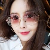 新款墨鏡女ins潮圓臉防紫外線網紅韓版無邊框太陽鏡大臉眼鏡 polygirl