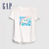 Gap女童 甜美風格圖案短袖T恤 577837-米白