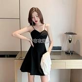赫本小黑裙新款氣質短款禮服內搭打底a字黑色吊帶洋裝女夏 快速出貨