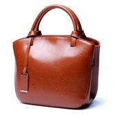 【O-ni O-ni】真皮新款韓版油蠟紋二層牛皮包女士貝殼款手提包JDL-L7020-棕色