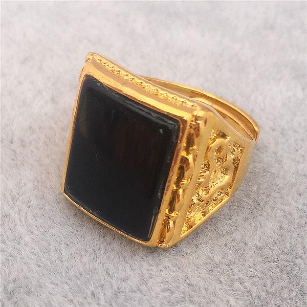 越南沙金指環歐幣日韓新款鍍24K金久不掉色寶石戒指