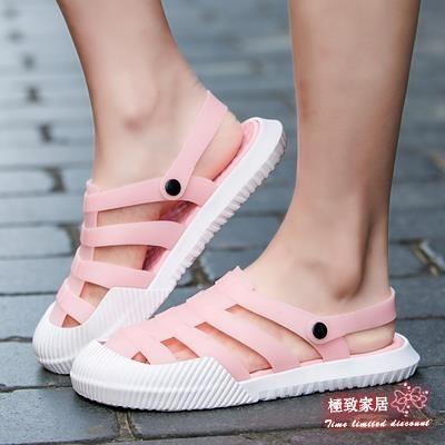 女士洞洞鞋 白色洞洞鞋女平底防滑軟底果凍拖鞋包頭塑料涼鞋護士鞋夏季沙灘鞋【快速出貨】