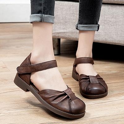 真皮手工涼鞋 包頭平底涼鞋 側空魔術貼涼鞋/2色-夢想家-標準碼-0401
