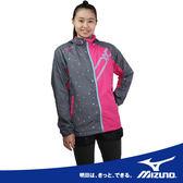 MIZUNO美津濃 獨家日本項GLOBAL CROSSTIC 女用風衣外套(灰粉底藍點點) 吸溼發熱保溫