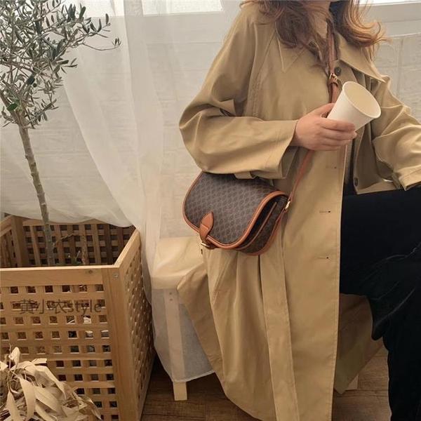 馬鞍包 韓國vintage側背老花包2020新款經典復古大容量馬鞍包斜背包包女 伊蒂斯