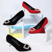 【Sp house】歐美時尚都會閃耀水鑽百搭尖頭細跟鞋8cm細跟鞋(黑色紅色2色全尺碼)