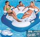 充氣水上沙發躺椅漂浮床游泳床裝備大號浮墊浮臺浮排浮島樂園YYS 【快速出貨】