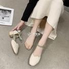低跟鞋 單鞋女中跟新款低跟一字扣奶奶鞋款包頭涼鞋高跟小皮鞋