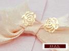 585K(14K)金 義大利進口   玫瑰金  時尚簡約 玫瑰造型 耳釘 耳環