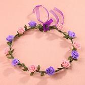 森女花環頭飾仿真花朵發箍韓式婚紗攝影配飾 會開幕式表演道具八朵發C 卡─ CH1701
