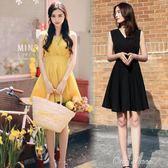 無袖洋裝修身高腰a字裙女正韓夏季顯瘦小個子黃色雪紡無袖v領洋裝背心裙『全館免運』