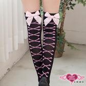 大腿襪 黑粉 甜蜜戀人 蝴蝶結素面蕾絲膝上襪絲襪 天使甜心Angel Honey