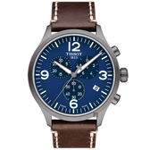 TISSOT天梭 韻馳系列 Chrono XL計時手錶-藍x咖啡/45mm T1166173604700