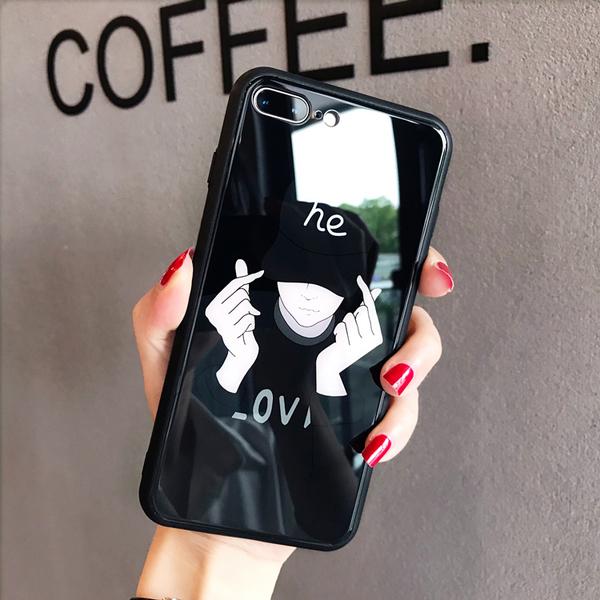 個性男女款iPhone11 Pro max手機殼iPhone8Plus保護套 XR XS max 鋼化玻璃背板 iPhone6sPlus防摔殼