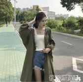 風衣2018春季新款韓版中長款大碼風衣女裝寬鬆單排扣顯瘦長袖薄外套潮 伊蒂斯女裝