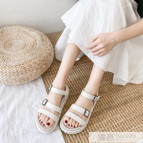 涼鞋女夏ins潮新款學生百搭原宿風女士厚底平底仙女風羅馬鞋 夏季新品