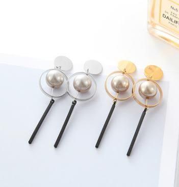 預購 - 質感歐美誇張立體幾何復古氣質鏤空圓環珍珠耳釘