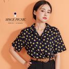 襯衫 Space Picnic|小花V領短袖雪紡襯衫(預購)【C20071032】