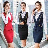職業套裝 女時尚氣質修身紅色西裝正韓正裝馬甲美容師工作服