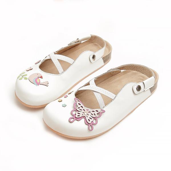 【Jingle】夢幻蝴蝶花園前包後空軟木休閒鞋(經典白大人款)