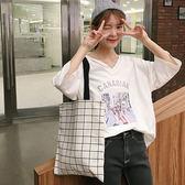 韓國版雙面帆布袋女學生簡約單肩包文藝手提購物袋帆布包書包 『水晶鞋坊』