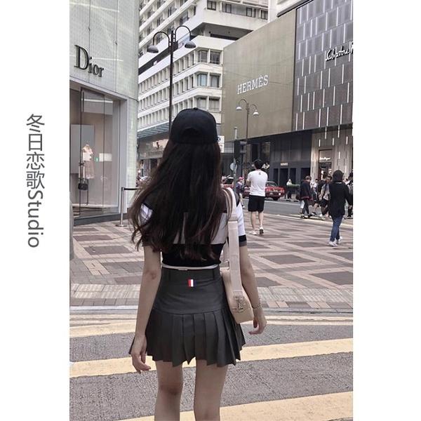 百褶裙 灰色西裝料TB風格設計高腰百褶裙短裙防走光A字半身裙女